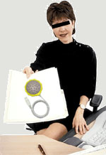 Woman at desk with USB