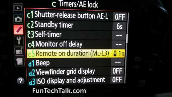 Nikon ML-L3 Remote Control Settings Help Info 4