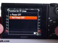 turn off RX100 iv veiw finder